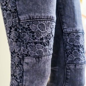 LF Carmar Floral Embroidered Black Jeans 24